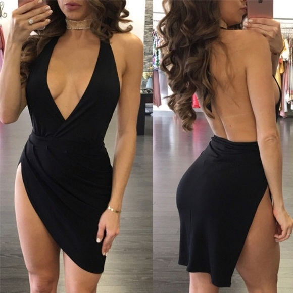 Nasty Gal Dresses Backless Low Cut Sexy Short Dress